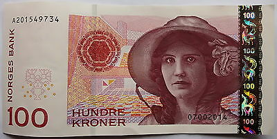 27) 100 KRONER KRONEN 2014 A! Norwegen MAKELLOS/UNZIRKULIERT!!! (UNCIRCULATED!)