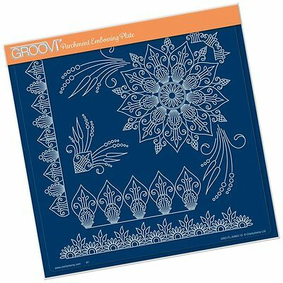CLARITY STAMP GROOVI Parchment Embossing Plate TINA HENNA CORNERS 1 GRO-FL-40662