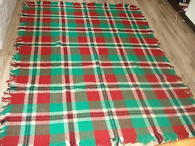 Vintage Bulgarian Woolen Plaid Blanket Bed Cover