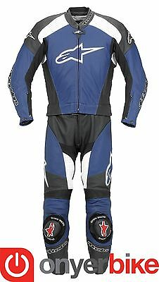Alpinestars TZ-1 Two 2 Piece Motorcycle Motorbike Race Leather Suit Blue SALE