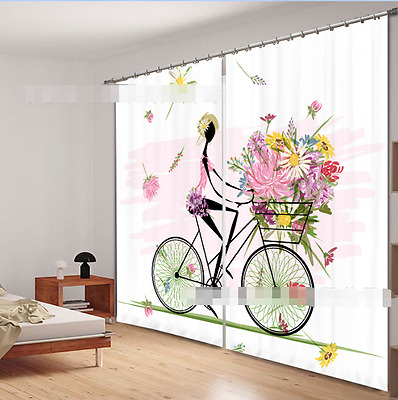 3D Cartoon Bike Blockout Photo Curtain Printing Curtains Drapes Fabric Window CA