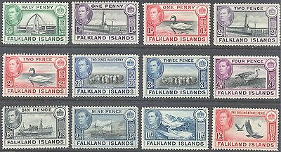 FALKLAND ISLANDS 1938/49 KG6 Pictorial Values to 1/3d (12) MH/MNH