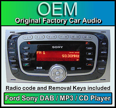 Ford Kuga DAB radio, Ford Sony DAB CD player car stereo, + stereo removal keys