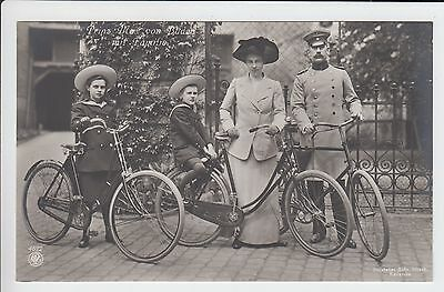 Prince Max of Baden with his family and their bicycles RARE RPPC !!!