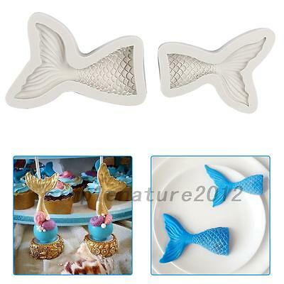 3D Mermaid Tail Silicone Soap Moulds Sugarcraft Fondant Chocolate Bake Mold DIY