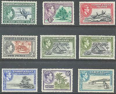 GILBERT & ELLICE ISLANDS 1939/43 KG6 Pictorial Values to 1/- (9) Mint