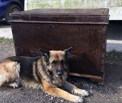 Old Vintage Antique LARGE!! Victorian Chest Trunk Industrial Architectural