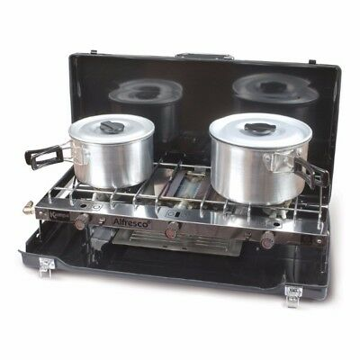 Kampa Alfresco Double Gas Hob & Grill Camping Cooker Stove