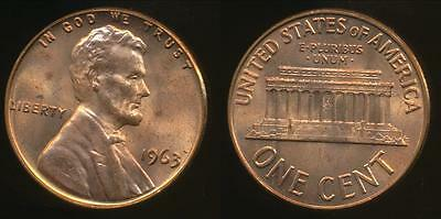 United States, 1963 One Cent, 1c, Lincoln Memorial - Uncirculated