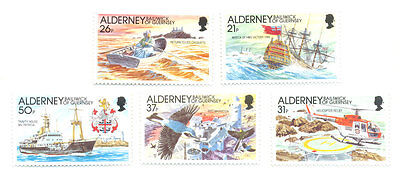 Alderney-Casquets-Lighthouse-Birds-Boats-Warship set of 5 mnh