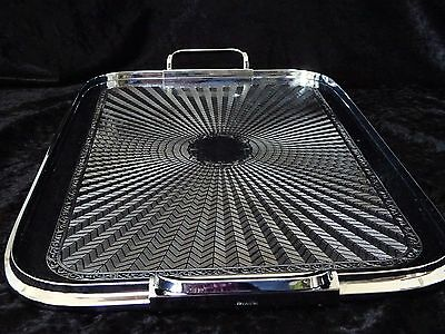 Vintage art deco  Ranleigh rectangle large silver drinks serving cocktail tray