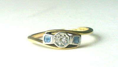 Antique Art Deco 18ct Yellow Gold Sapphire and Diamond Ring Size O/P