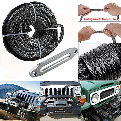 3/8'' x 95' Gray Car 16500LBs Synthetic Winch Line Cable Rope + Hawse Fairlead