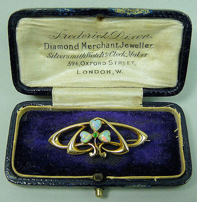 Art Nouveau 9 K Gold Opal & Emerald Brooch C.1900 - 3.5 Grams