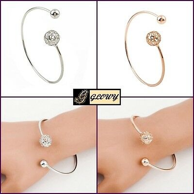 Silver Rose Gold Plated Hollow Filigree Ball Cuff Bangle Charm GLOWY Bracelet