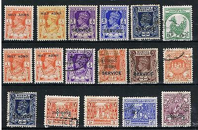 BURMA ,17 STAMPS FROM THE 1940's, including  SG18a RED-ORANGE, mint and used.