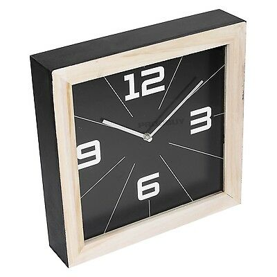Contemporary Black Square 30cm Wooden Wall Clock Large Kitchen Home Decor Gift