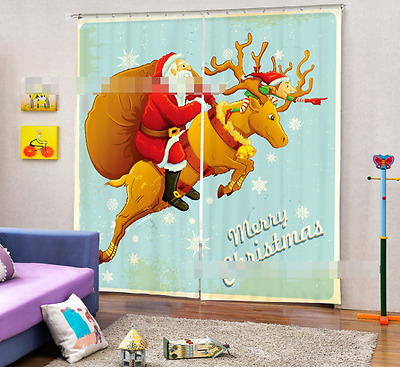 3D Cartoon Deer Blockout Photo Curtain Printing Curtains Drapes Fabric Window CA