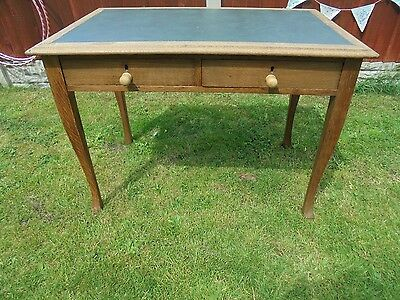 antique oak wood writing table with green leather top