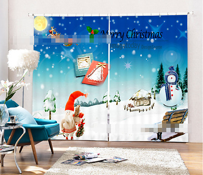 3D Snowman 79 Blockout Photo Curtain Printing Curtains Drapes Fabric Window CA
