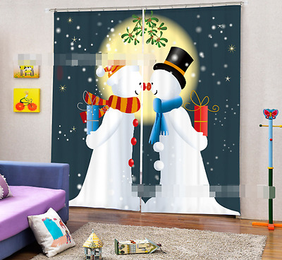 3D Snowman Gift Blockout Photo Curtain Printing Curtains Drapes Fabric Window CA