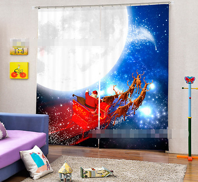 3D Moon Deer 8 Blockout Photo Curtain Printing Curtains Drapes Fabric Window CA