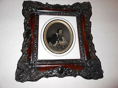 Women at Desk  1/6 Plate Ambrotype - Hanging Wall Frame