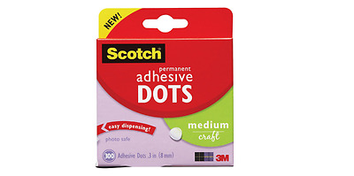 Adhesive Glue Dots Scotch Permanent Sticky Dots 8mm Pack Of 300   ** Free P&P **