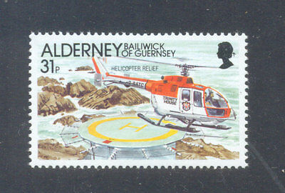 Alderney-Helicopter mnh single Aviation