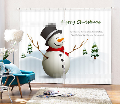 3D Snowman 789 Blockout Photo Curtain Printing Curtains Drapes Fabric Window CA