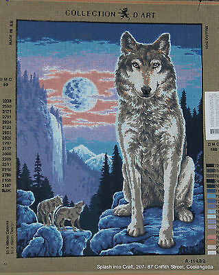 TAPESTRY CANVAS - COLLECTION d'ART - WOLF AND FULL MOON