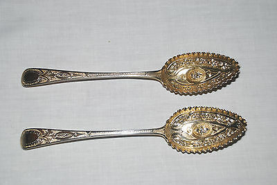 Vintage Antique George III English Sterling berry spoons with 22K Gold Wash