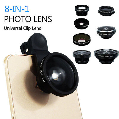 8 in1 Clip On Camera Lens Fisheye +Wide Angle+Macro For Phones iPhone Samsung