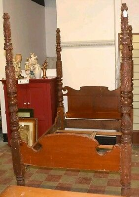 Vintage Antique Primitive Carved 4 Poster Bed ~ Bed & a Half ~ Custom Mattress