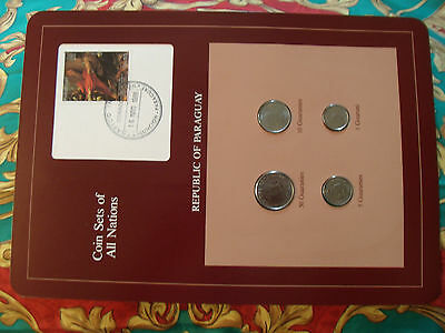 Coin Sets of All Nations Paraguay w/Card UNC 1,10,50 Guaranies 1986 5 Guar. 1984