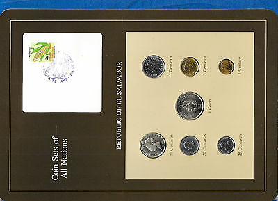Coin Sets of All Nations El Salvador 1974-1984 UNC 3 cent 1974 3 @ 1977