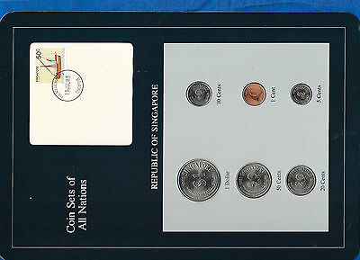 Coin Sets of All Nations Singapore UNC 1981 $1 50,20,10,5,1 Cents