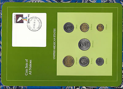 Coin Sets of All Nations Mexico w/card 1985-1988 UNC 1,5,10,50,100 Pesos 1987