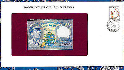 Banknotes of All Nations Nepal 1974 1 Rupee P22b sign 10 UNC Fancy number ЭУООЄУ