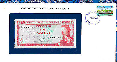 Banknotes of All Nations East Caribbean 1 Dollars 1965 UNC P13g Serie B83