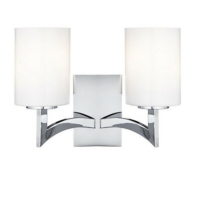 Gina 2 Light Chrome Wall With Opal White Glass Cylinder Shades