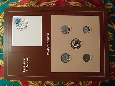 Coin Sets of All Nations Nepal Brown 1979 - 1986  UNC stamped 6NOV87