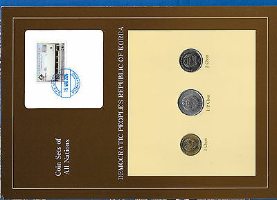 Coin Sets of All Nations Korea w/card UNC 1/2, 1, 2 Chon 2002