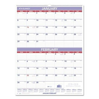 At-A-Glance 2018 Two Month Wall Calendar - PM928