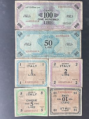 Italy 1 2 5 10 50 100 Lire Allied Military Currency WWII Dated 1943 aFine/Fine