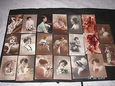 20 Vintage Glamour Postcards Of Lovely Ladies - 13 Posted 1911 - 1927 -
