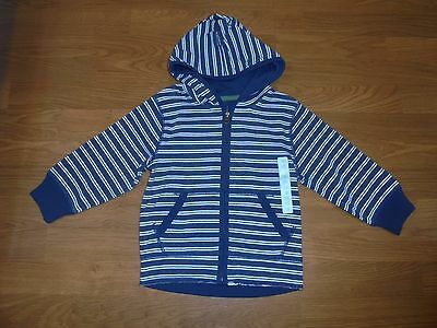 NWT Baby Gap blue striped hooded zip front jacket size 3T