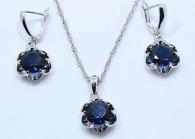 Blue Sapphire  925 Silver Gemstone Pendant Necklace & Earrings set + gift box