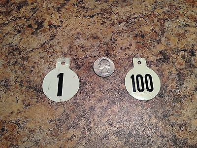 Vintage Cow Tags Tin Numbered Ear or Pen 1-100