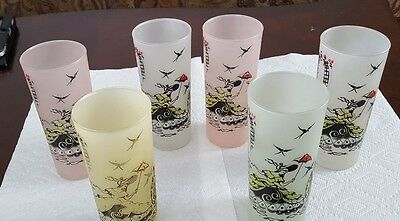 Vintage 50's Anchor Hocking Southern Belle Frosted Glass Tumblers Set of 6
